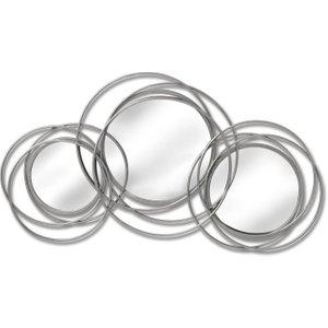 Hill Interiors Silver Trio Multi Circled Wall Art Mirror, Silver