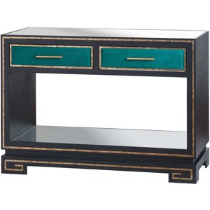 Hill Interiors The Gatsby Black Console Table, Black, Green and Antique Gold