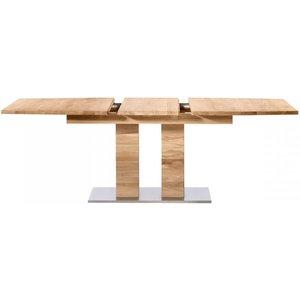 Loma Living Hobro Oak 160cm Rectangular Extending Dining Table With Stainless Steel Base