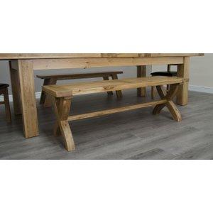 Homestyle GB Furniture Homestyle Gb Deluxe Oak Cross Leg Dining Bench, Oak