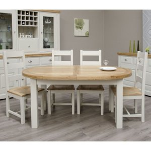 Homestyle GB Furniture Homestyle Gb Painted Deluxe Oval Extending Dining Table And Ladder Back Chairs, Painted