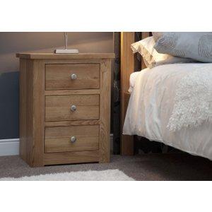 Homestyle Gb Furniture Homestyle Torino Oak 3 Drawer Narrow Bedside Cabinet