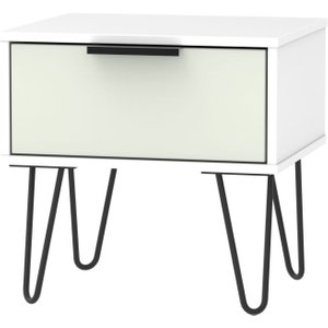 Welcome Furniture Hong Kong 1 Drawer Bedside Cabinet With Hairpin Legs - Kaschmir And White, Kaschmir and White