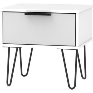 Welcome Furniture Hong Kong 1 Drawer Bedside Cabinet With Hairpin Legs - Grey And White, Grey and White