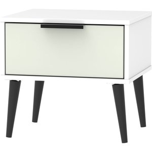 Welcome Furniture Hong Kong 1 Drawer Bedside Cabinet With Wooden Legs - Kaschmir And White, Kaschmir and White