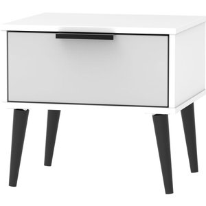 Welcome Furniture Hong Kong 1 Drawer Bedside Cabinet With Wooden Legs - Grey And White, Grey and White
