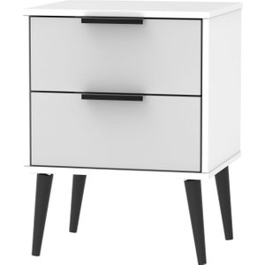 Welcome Furniture Hong Kong 2 Drawer Bedside Cabinet With Wooden Legs - Grey And White, Grey and White