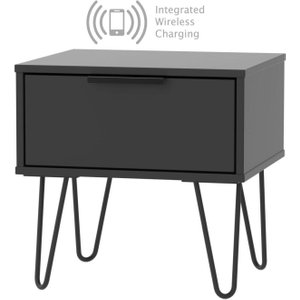 Welcome Furniture Hong Kong Black 1 Drawer Bedside Cabinet With Hairpin Legs And Integrated Wireless Chargin