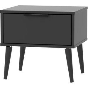 Welcome Furniture Hong Kong Black 1 Drawer Bedside Cabinet With Wooden Legs