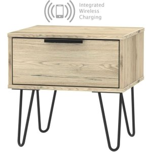 Welcome Furniture Hong Kong Bordeaux Oak 1 Drawer Bedside Cabinet With Hairpin Legs And Integrated Wireless