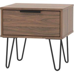 Welcome Furniture Hong Kong Carini Walnut 1 Drawer Bedside Cabinet With Hairpin Legs, Carini Walnut