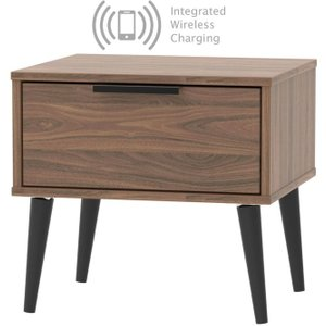 Welcome Furniture Hong Kong Carini Walnut 1 Drawer Bedside Cabinet With Wooden Legs And Integrated Wireless