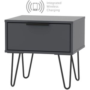Welcome Furniture Hong Kong Graphite 1 Drawer Bedside Cabinet With Hairpin Legs And Integrated Wireless Char