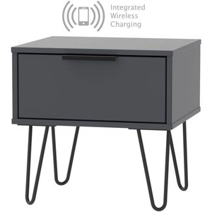 Welcome Furniture Hong Kong Graphite 1 Drawer Bedside Cabinet With Hairpin Legs And Integrated Wireless Char, Graphite