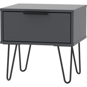Welcome Furniture Hong Kong Graphite 1 Drawer Bedside Cabinet With Hairpin Legs