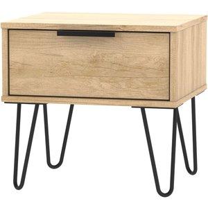 Welcome Furniture Hong Kong Nebraska Oak 1 Drawer Bedside Cabinet With Hairpin Legs, Nebraska Oak