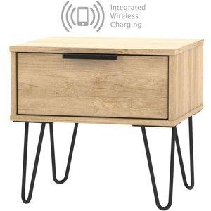 Welcome Furniture Hong Kong Nebraska Oak 1 Drawer Bedside Cabinet With Hairpin Legs And Integrated Wireless , Nebraska Oak