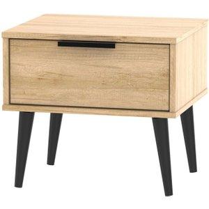 Welcome Furniture Hong Kong Nebraska Oak 1 Drawer Bedside Cabinet With Wooden Legs, Nebraska Oak