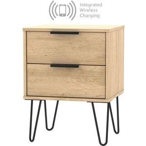 Welcome Furniture Hong Kong Nebraska Oak 2 Drawer Bedside Cabinet With Hairpin Legs And Integrated Wireless , Nebraska Oak