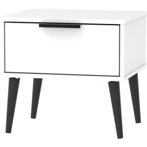 Welcome Furniture Hong Kong White 1 Drawer Bedside Cabinet With Wooden Legs, white