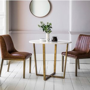 Gallery Direct Hudson Living Cleo Round Dining Table - Marble, White with Grey and Brushed Bronze