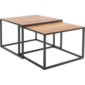 Essentials By Scuttle Interiors Inkster Industrial Oak And Metal Square Nest Of 2 Coffee Tables