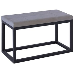 Space London Islington Black Extra Large Stool With Grey Cushion, Grey and Black Stained Oak Veneer