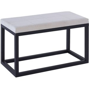 Space London Islington Black Extra Large Stool With Off White Cushion, Off White and Black Stained Oak Veneer