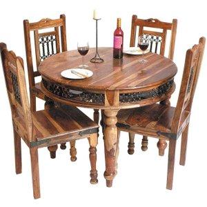 Jaipur Furniture Jaipur Jali Sheesham Round Dining Table With 4 Chairs