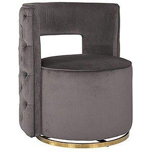 Richmond Interiors Jamie Stone Velvet And Gold Swivel Chair