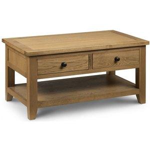 Julian Bowen Furniture Julian Bowen Astoria Oak 2 Drawer Coffee Table, Waxed Oak