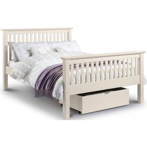 Julian Bowen Furniture Julian Bowen Barcelona Stone White High Foot End 4ft 6in Double Bed, Stone White