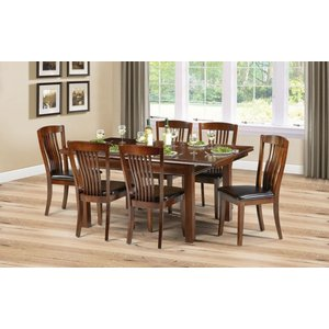 Julian Bowen Furniture Julian Bowen Canterbury Extending Dining Table And 4 Faux Leather Chairs - Mahogany And Br, Mahogany and Stain Lacquered