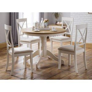 Julian Bowen Furniture Julian Bowen Davenport Oak And Ivory Painted Round Dining Table And 4 Chairs, Oak Veneered Top and Ivory Lacquered Base
