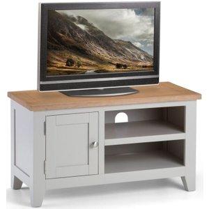 Julian Bowen Furniture Julian Bowen Richmond Tv Unit - Oak And Elephant Grey, Elephant Grey with Low Sheen Lacquer