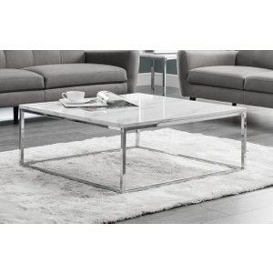 Julian Bowen Furniture Julian Bowen Scala Square Coffee Table - White Marble And Chrome