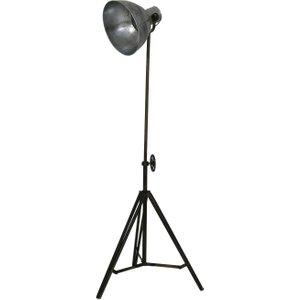 Light & Living Junko Metal Tripod Floor Lamp - Black And Vintage Silver, Silver