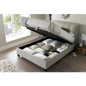 Kaydian Accent Ottoman Storage Bed - Oatmeal Fabric, Pendle Oatmeal