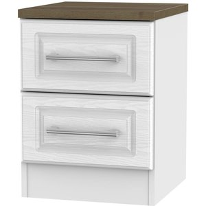 Welcome Furniture Kent 2 Drawer Bedside Cabinet - White Ash And Oak, White Ash and Oak