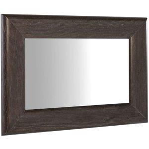 Space London Kilburn Charcoal Rectangular Wall Mirror, Charcoal Stained Oak Veneer