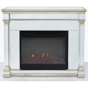 Deco Home Killona Champagne Mirroreded Fire Surround With Electric Fire, Champagne and Mirrored