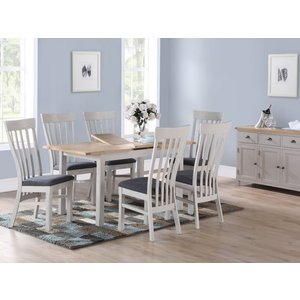 Annaghmore Kilmore Extending Dining Table And 4 Chairs - Oak And Grey Painted, Grey Painted