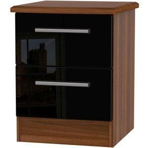 Welcome Furniture Knightsbridge 2 Drawer Bedside Cabinet - High Gloss Black And Noche Walnut, High Gloss Black and Noche Walnut
