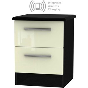 Welcome Furniture Knightsbridge 2 Drawer Bedside Cabinet With Integrated Wireless Charging - High Gloss Crea, High Gloss Cream and Black