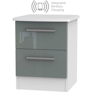 Welcome Furniture Knightsbridge 2 Drawer Bedside Cabinet With Integrated Wireless Charging - High Gloss Grey, High Gloss Grey and White