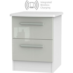 Welcome Furniture Knightsbridge 2 Drawer Bedside Cabinet With Integrated Wireless Charging - High Gloss Kasc, High Gloss Kaschmir and White