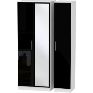 Welcome Furniture Knightsbridge 3 Door Tall Mirror Wardrobe - High Gloss Black And White, High Gloss Black and White