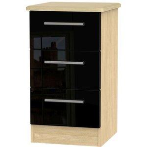 Welcome Furniture Knightsbridge 3 Drawer Bedside Cabinet - High Gloss Black And Light Oak, High Gloss Black and Light Oak