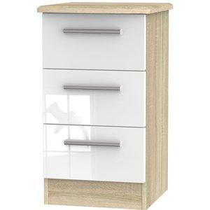 Welcome Furniture Knightsbridge 3 Drawer Bedside Cabinet - High Gloss White And Bardolino, High Gloss White and Bardolino