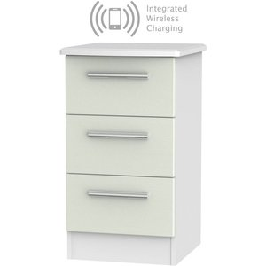 Welcome Furniture Knightsbridge 3 Drawer Bedside Cabinet With Integrated Wireless Charging - Kaschmir Ash An, Kaschmir Ash and White